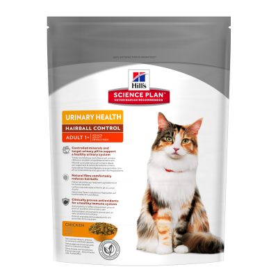 Hill's Science Plan Feline - Adult Urinary Health Hairball Control cu Pui 300 g, 3 kg, 1.5 kg