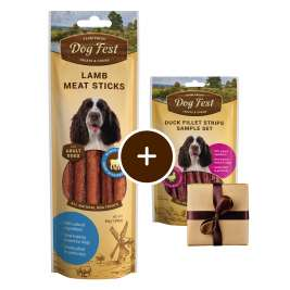 Dog Fest Bastoncini di Agnello + Regalo: Filetti di Anatra  45+25 g
