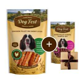 Dog Fest Filetto di Pollo su Bastoncini Masticabili + Regalo: Filetti di Anatra  90+25 g