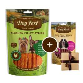 Dog Fest Small Breeds Fatias de Filete de Frango + Presente: Fatias de Filete de Pato Frango 55+25 g