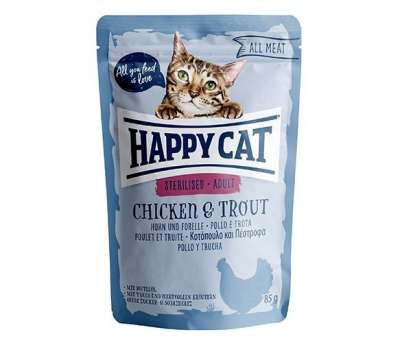Happy Cat All Meat Adult Sterilised Pollo & Trucha 85 g