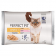 Sensitive 1+ Multipack Chicken & Salmon Perfect Fit 4x85 g